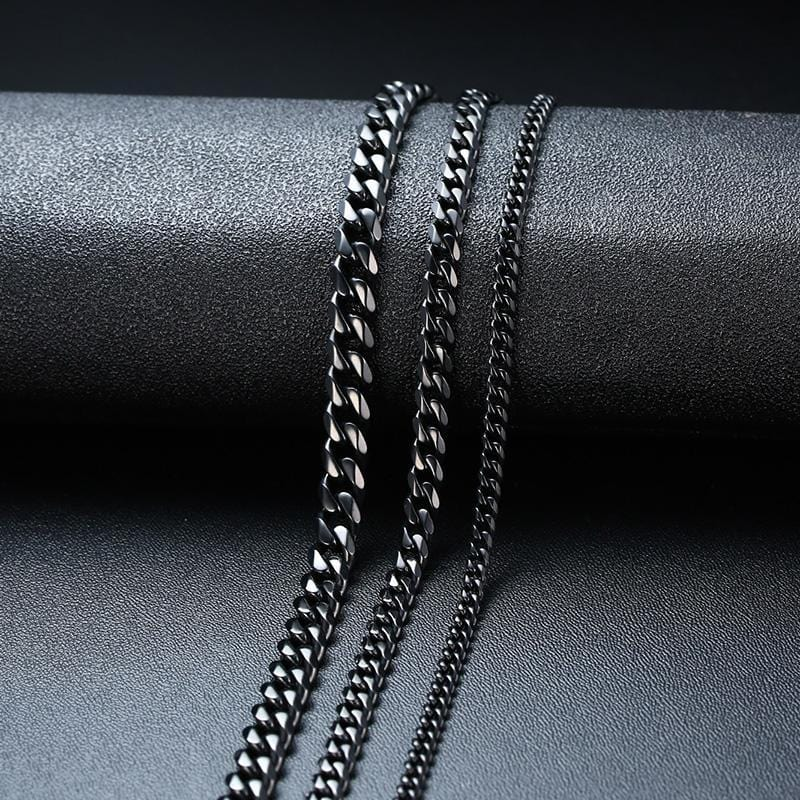 Stainless Steel Black Cuban Link Chain Necklace