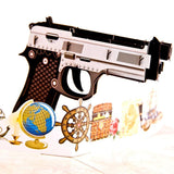 Colorful Gun 3D Pop up Greeting Card