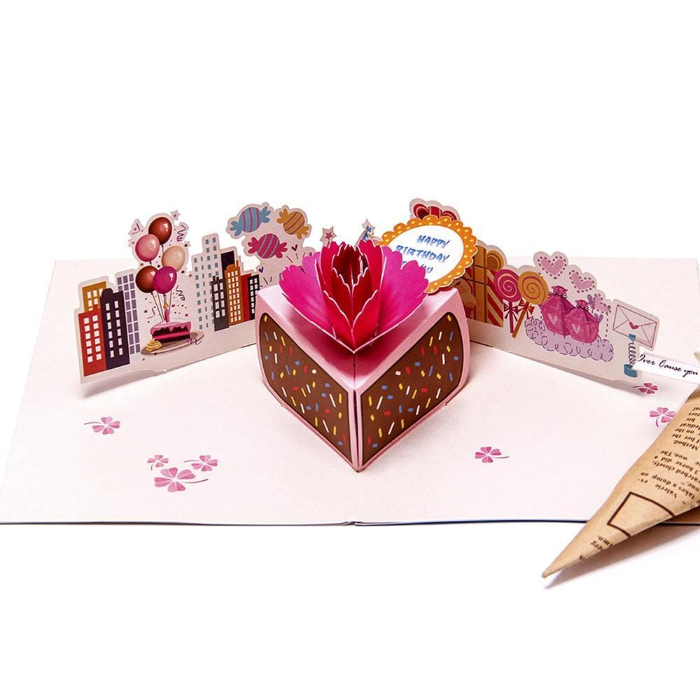 Colourful Cake 3D Pop up Birthday Greeting Card