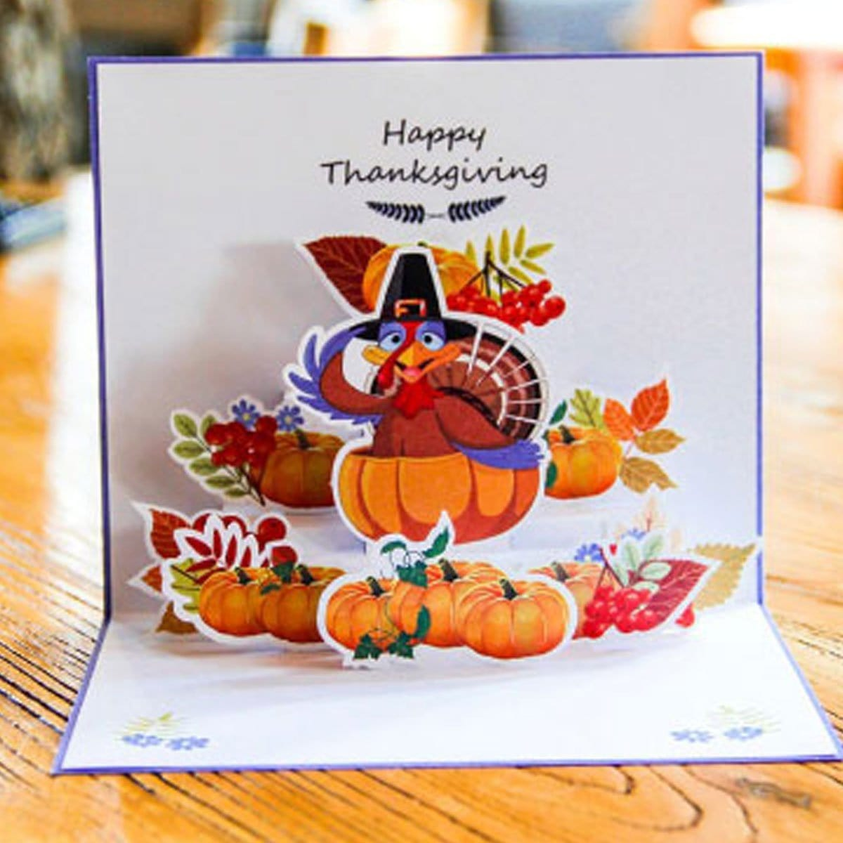 Turkey Pumpkin Pop Up Thanks Giving Greeting Card