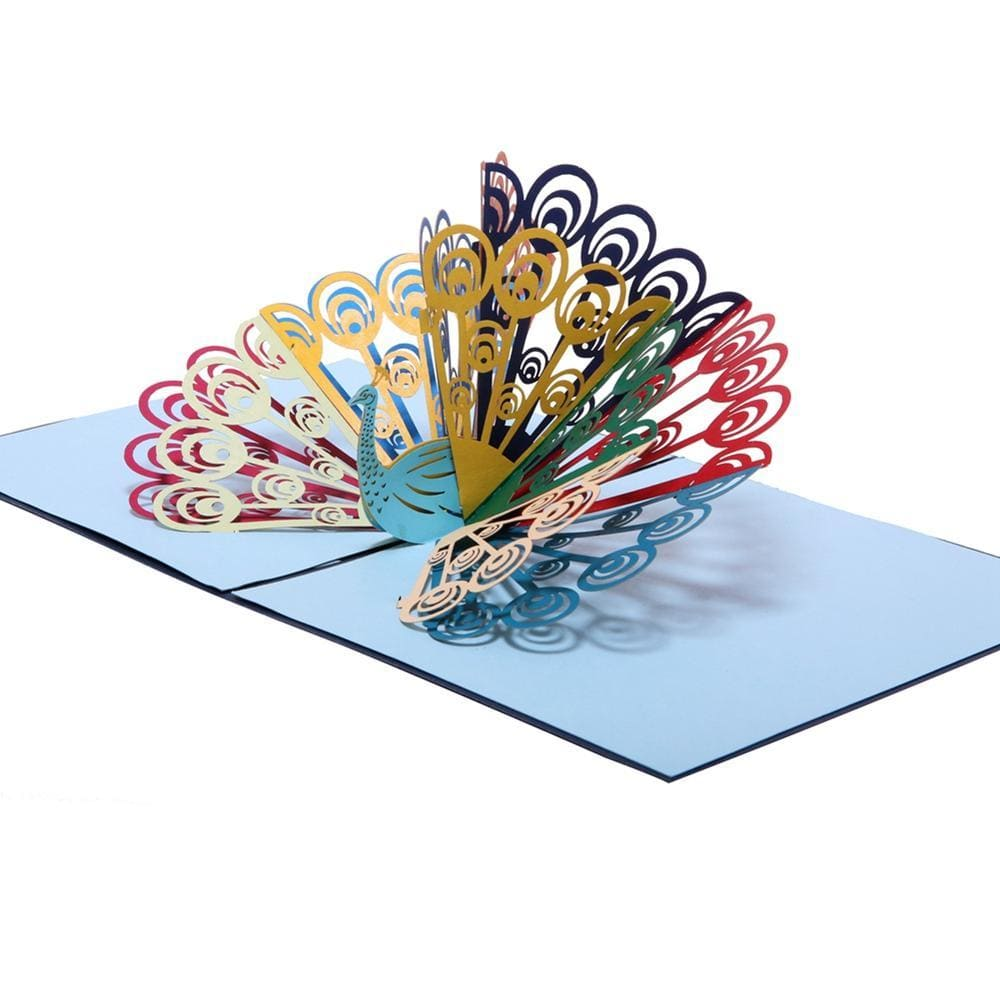 Mutil-color peacock Pop Up Greeting Card