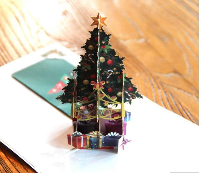 Colorful Christmas Tree Pop Up Greeting Card