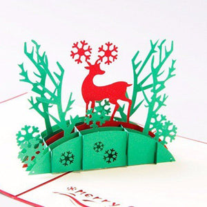 Deer Mery Christmas Card Pop Up Greeting Card