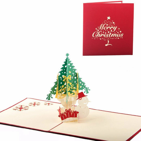 Christmas tree and snowman Pop Up Greeting Card