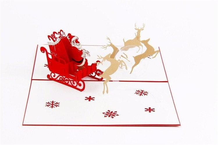 Flying Santa Ride Pop Up Greeting Card
