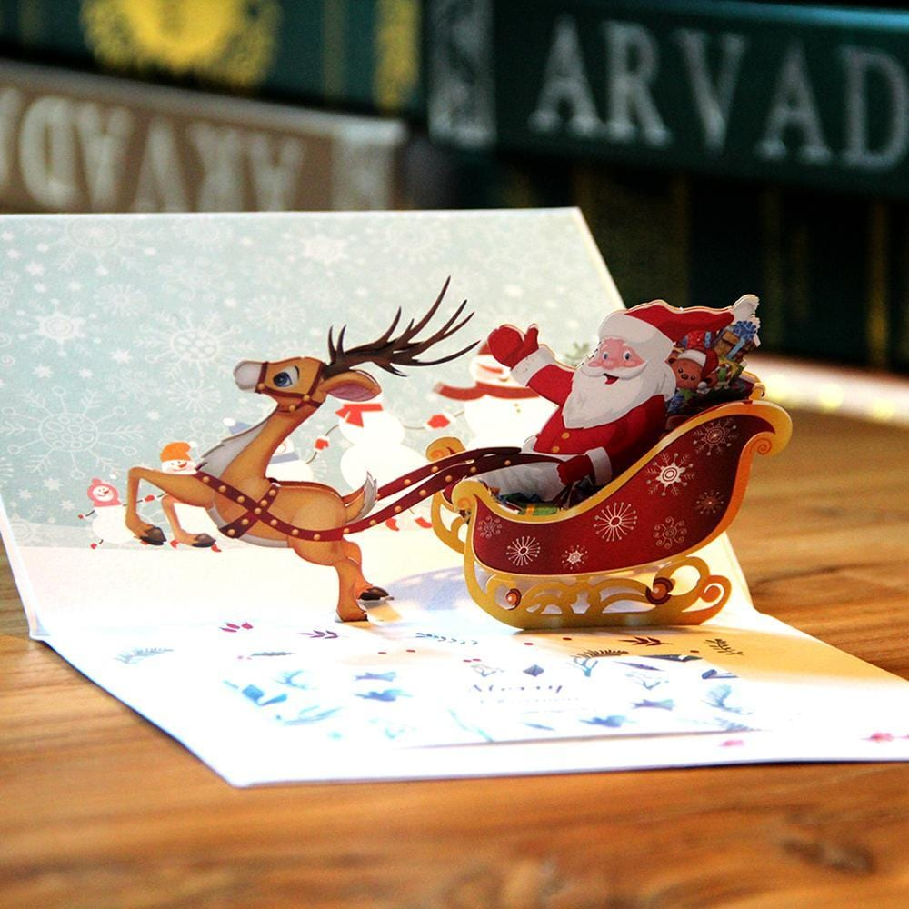 Colorful Santa Ride Pop Up Greeting Card