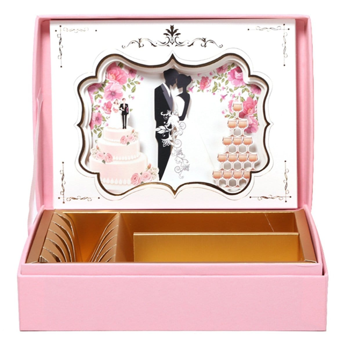 3D Pop UP Pink Creative Wedding invitation Card in a Box