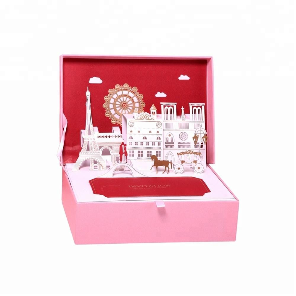 3D Pop UP Creative Wedding invitation Card in a Box