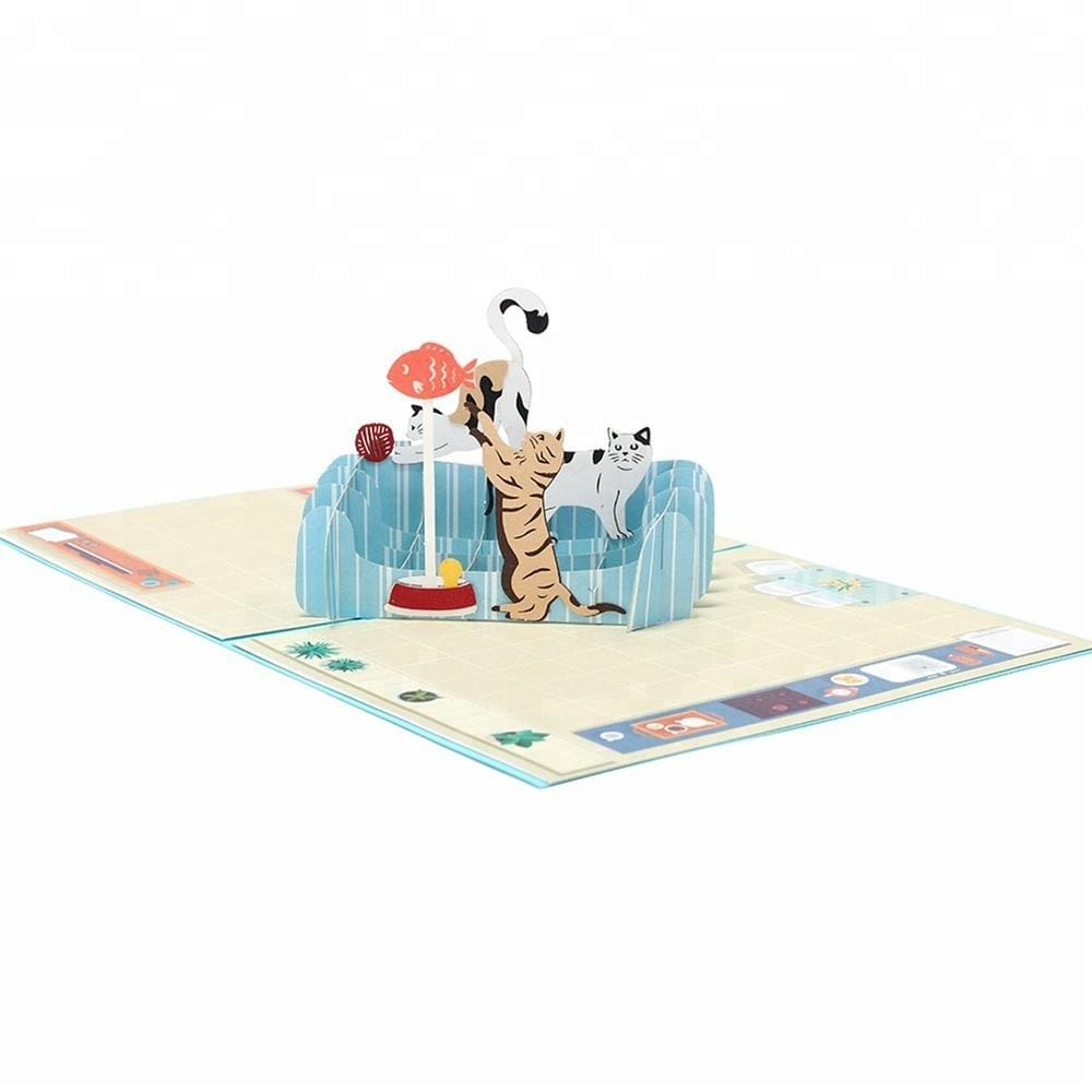 Cats Love Pop up Greeting Card - Gift for Cat lovers