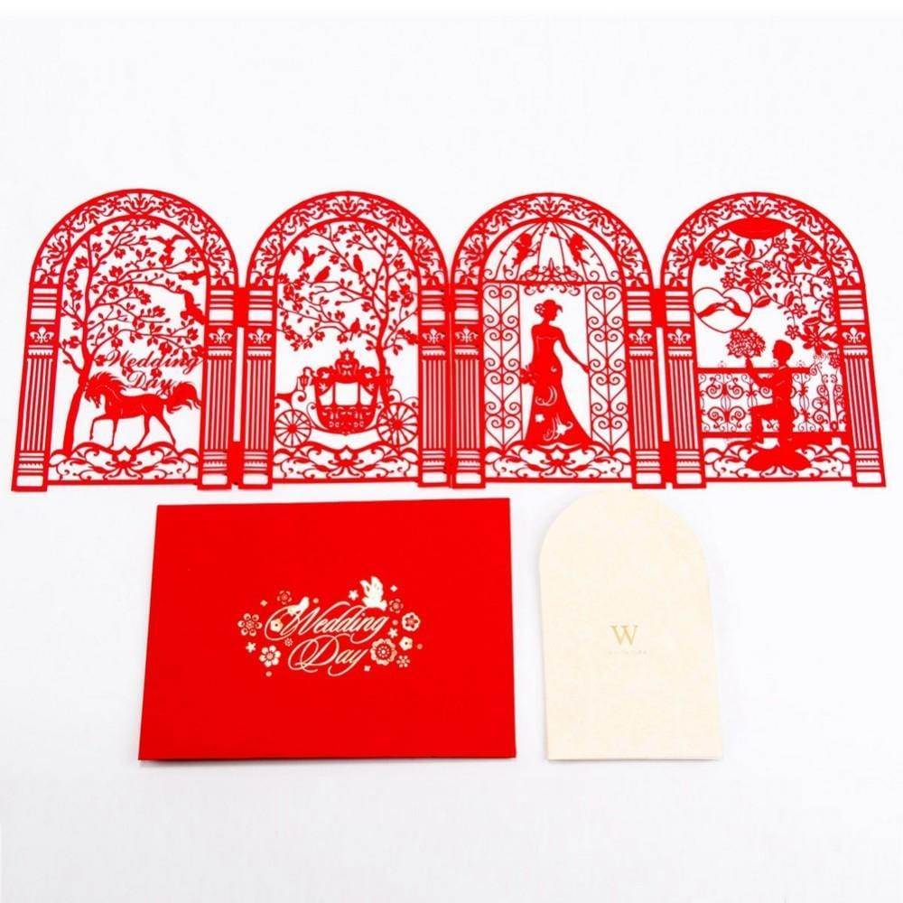 Red Romantic wedding Day & Invitation Wedding Greeting Card