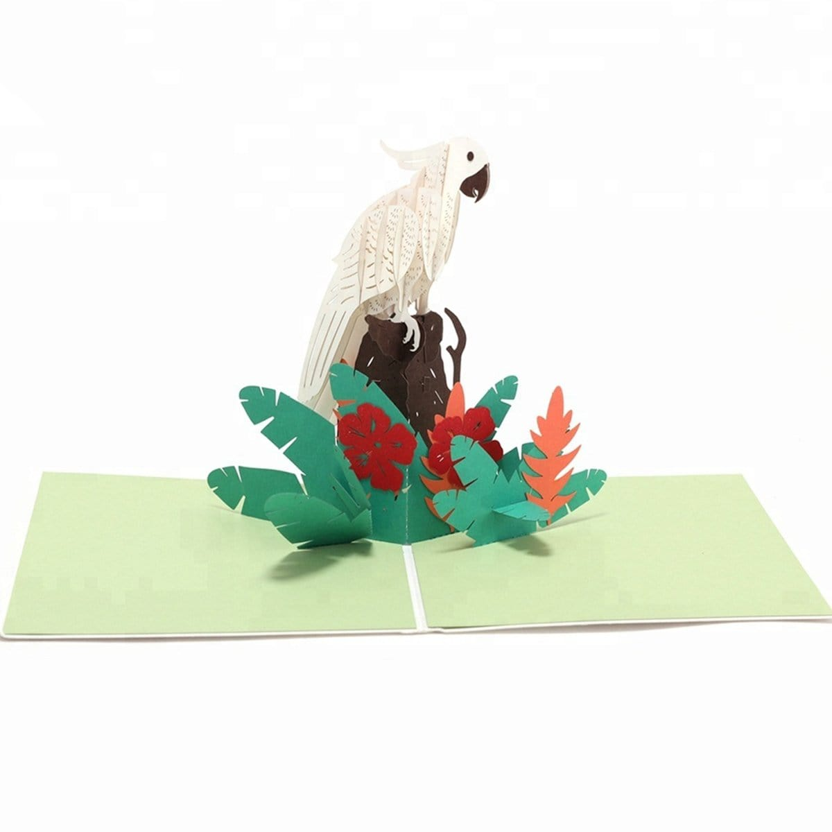 White Parrot Pop up Greeting Card