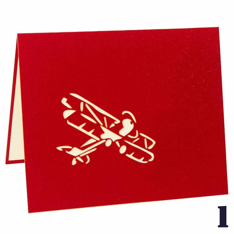 3D Pop Up Airplane Greeting Card-Red