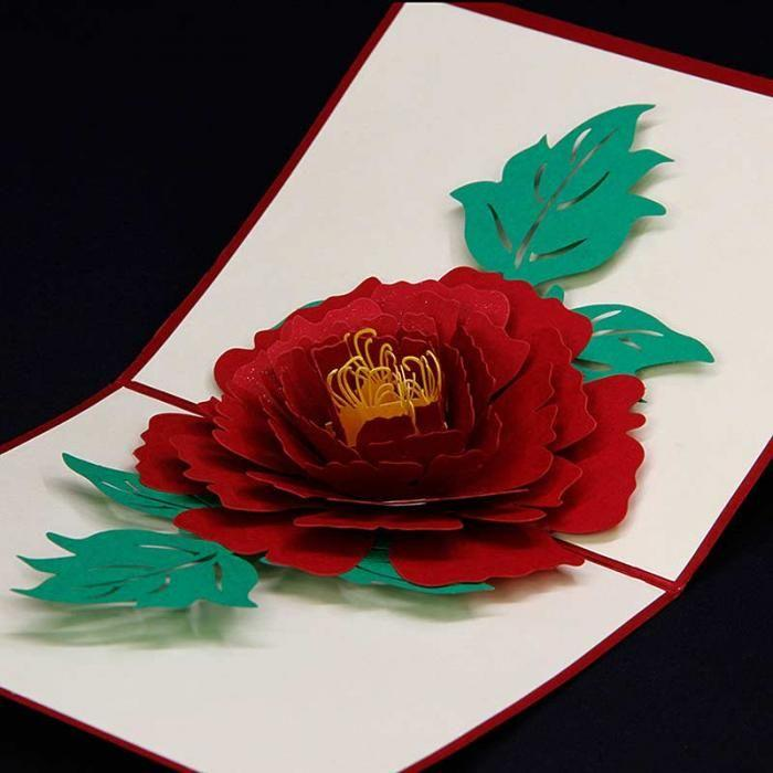3D Pop Up Handmade Rose Love Card -Red