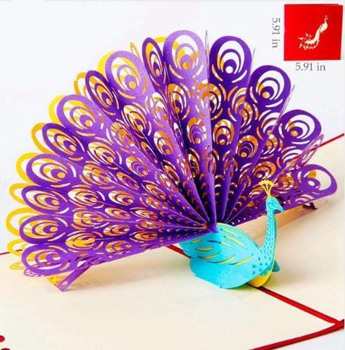 3D Pop Up Peacock Greeting Card