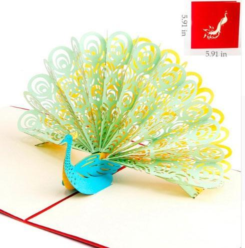 3D Pop Up Peacock Greeting Card-Green