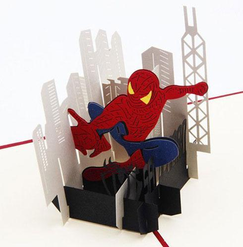 Handmade 3D Pop UP Spiderman Greeting Card