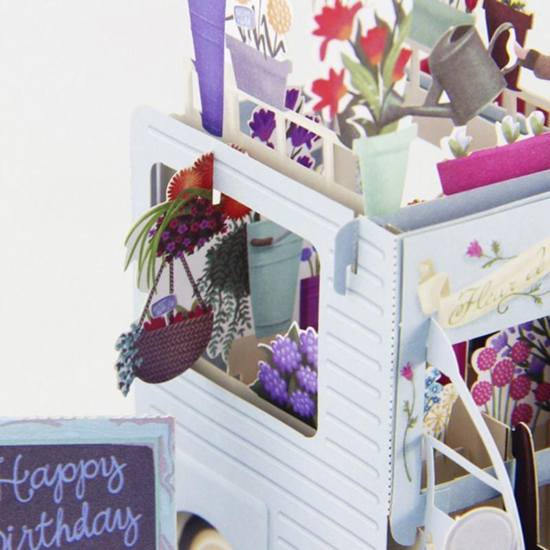 Flower Couple, Birthday Jeep - 3d Popup Birthday Greeting Card
