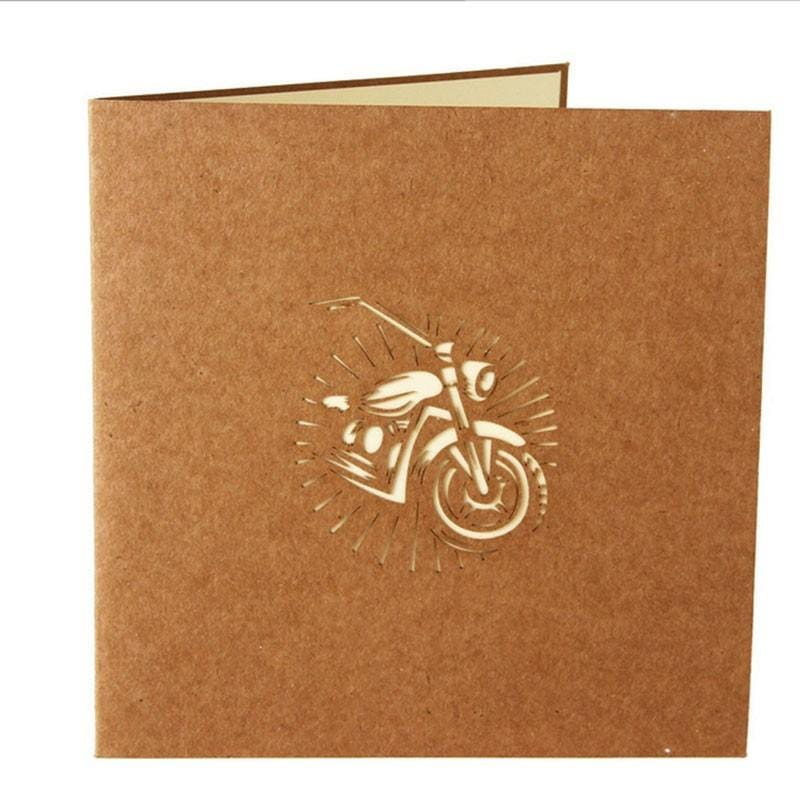 Laser Cut 3D Pop Up Motorcycle Bike Card