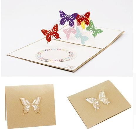 3D Pop up Vintage Rainbow Buffer flies Greeting Card