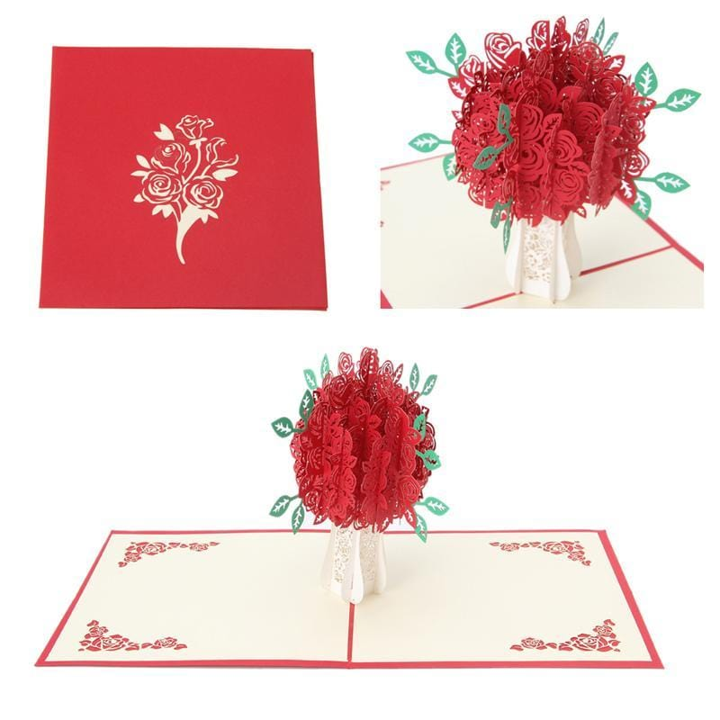 3d Pop Up Rose Bouquet Greeting Card