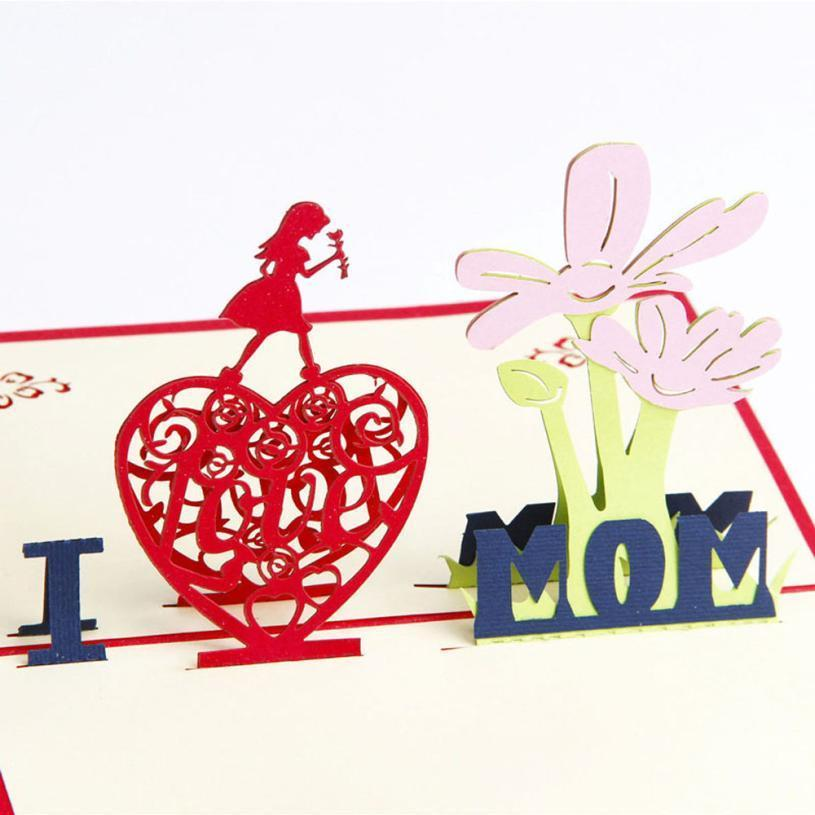 I Love Mom 3D pop Up Handmade Card For Mothers day