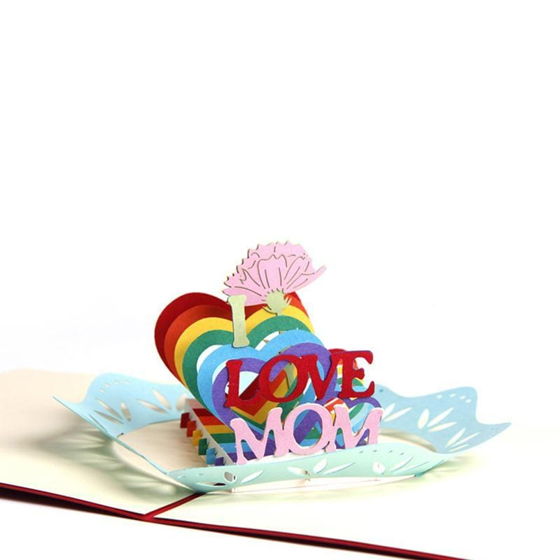 Handmade 3D Pop Up I Love Mum Greeting Card