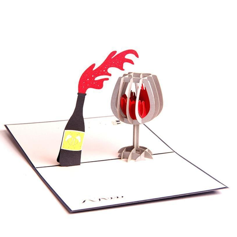 3d Pop Up Wine Bottle and Glass Greeting Card