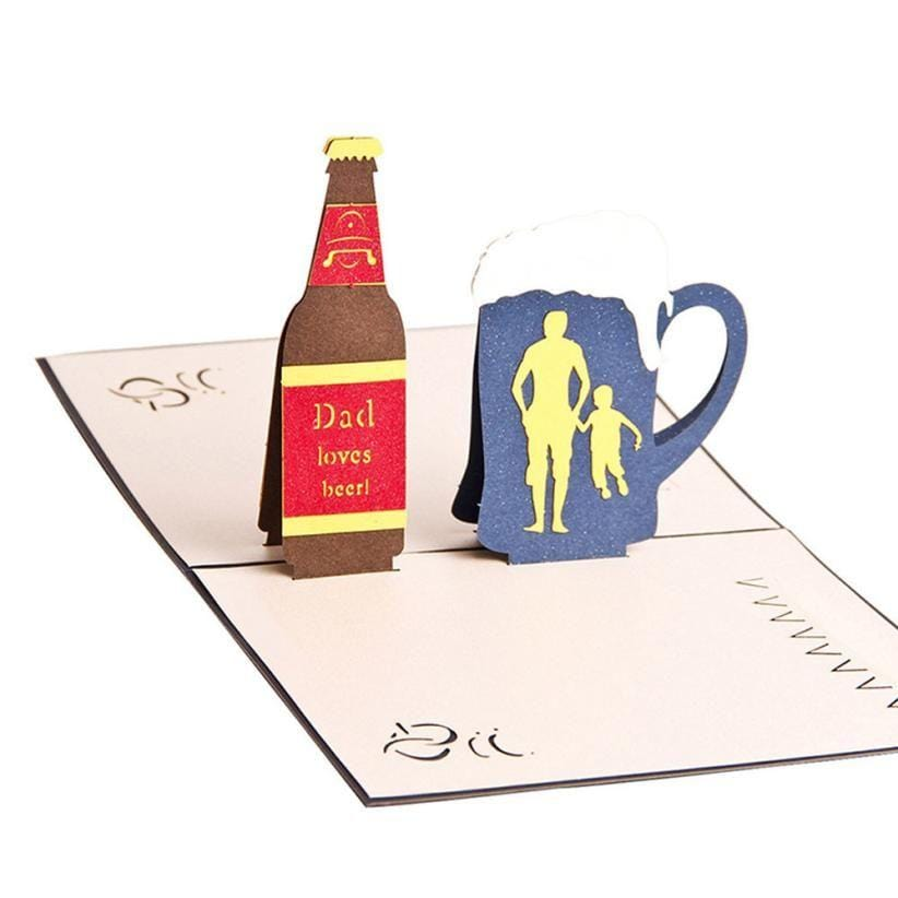 Handmade Dad Lover Beer And Glass Greeting Card