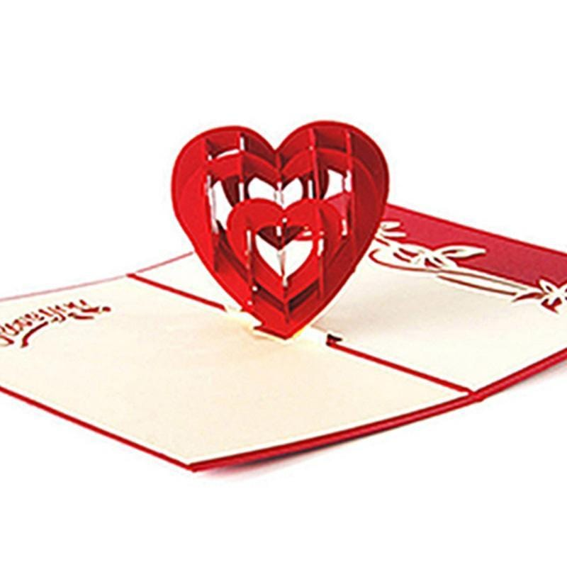 I Love You 3D Handmade Heart Card - Valentines Greeting Card