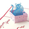 3d Pop Up Cat in Box Birthday Greeting Card