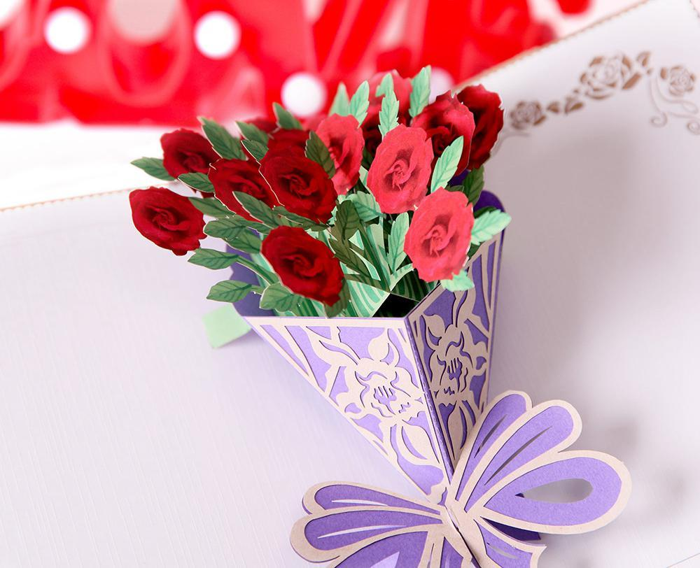 3D Pop Up Flower Bouquet Greeting Card