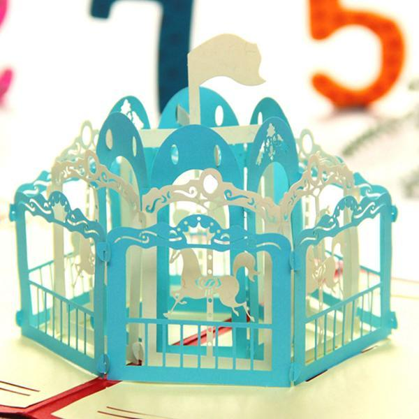 Cute Merry Go Round Pop up Greeting Card