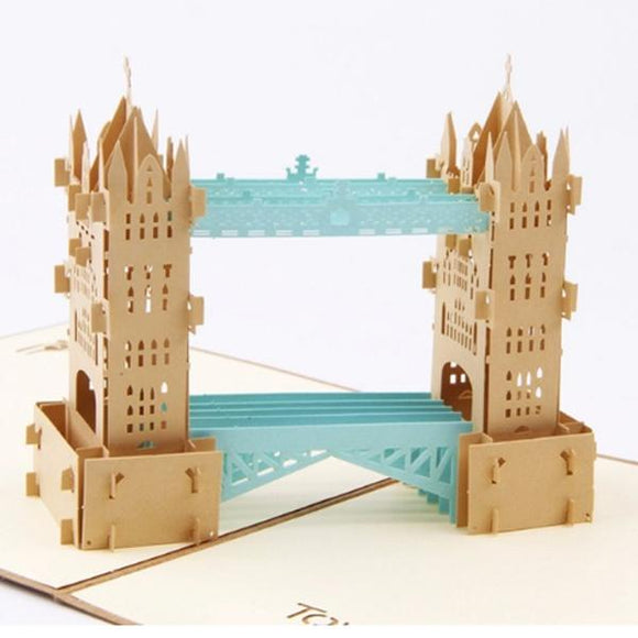 Retro Tower bridge 3D Pop up Greeting Card