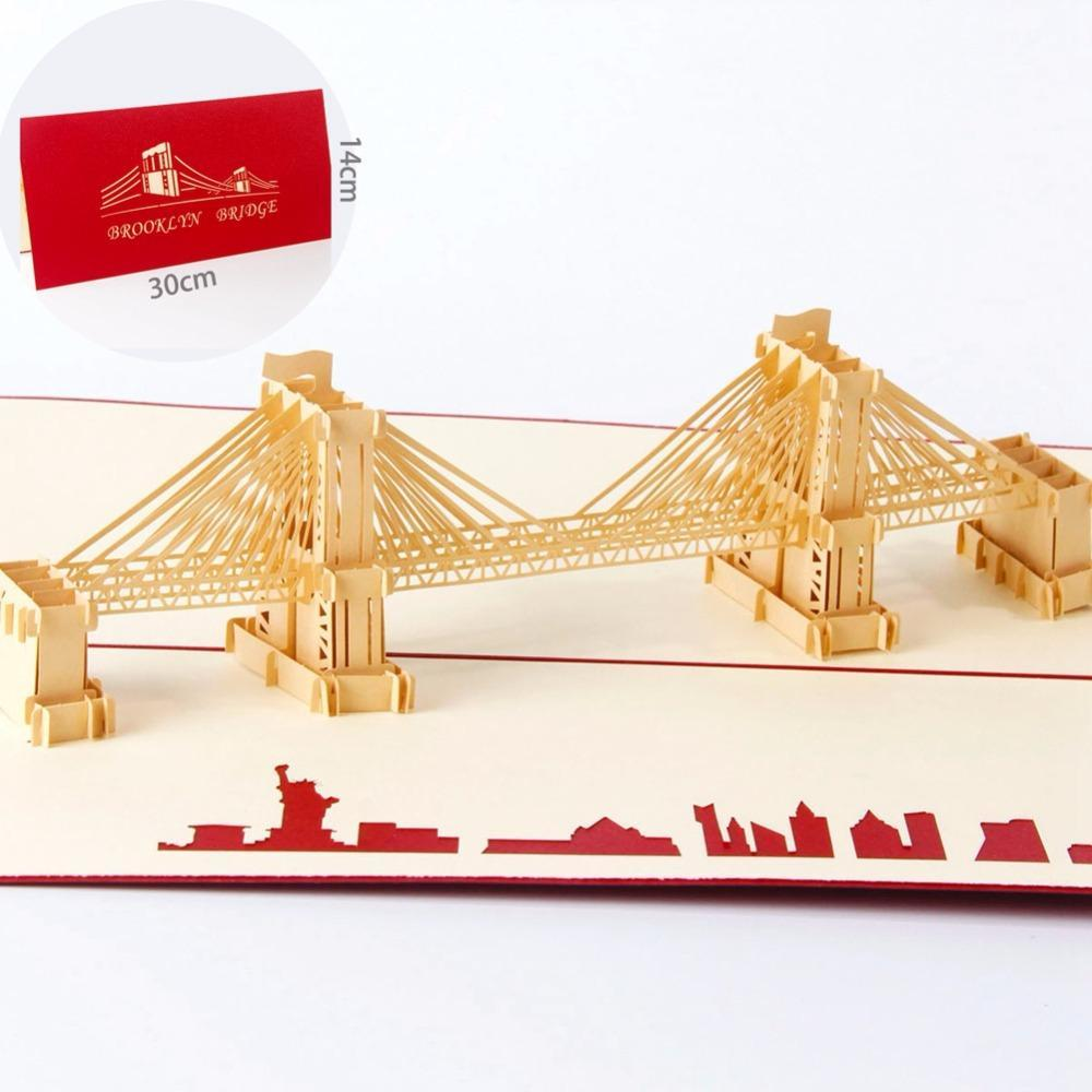 Large Brooklyn Bridge 3D Pop up Greeting Card