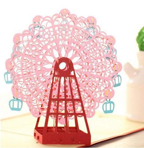 3D Handmade Ferris Wheel Greeting Card Pink