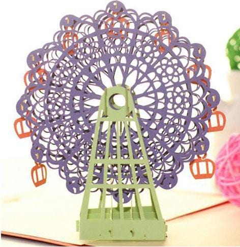 3D Handmade Ferris Wheel Greeting Card Purple
