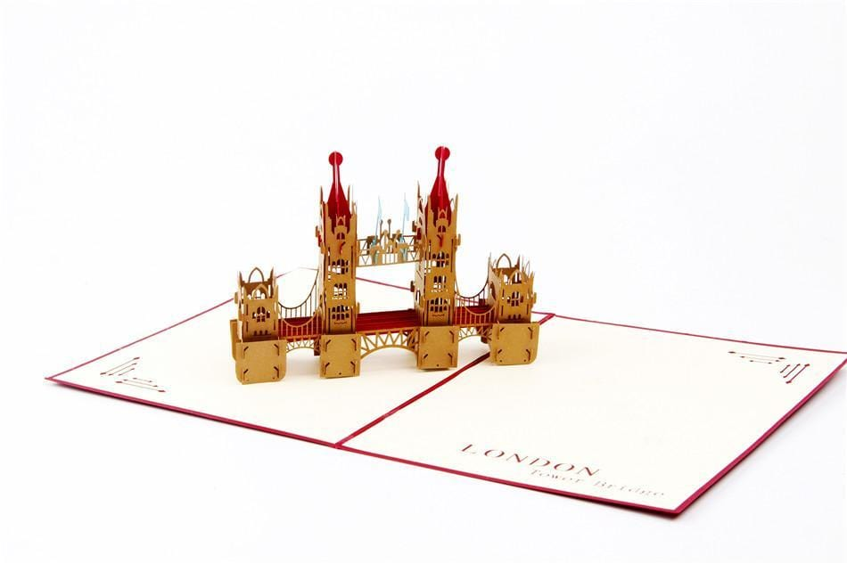 London Bridge Red 3D Pop up Greeting Card