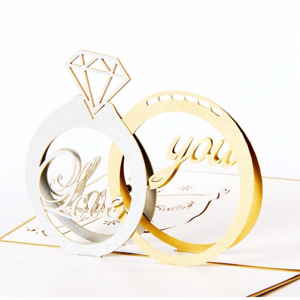 3D Pop up Diamond Ring Engagement Greeting Card