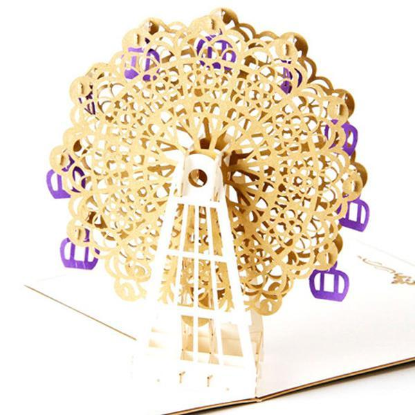 Golden Ferries wheel 3D Pop up Greeting Card
