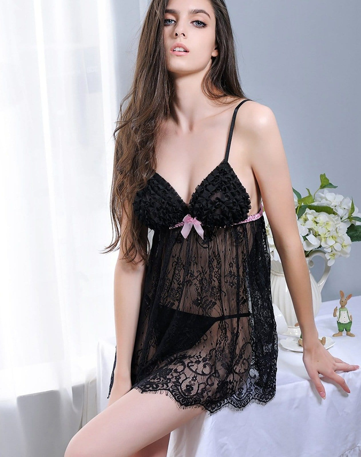 Babydoll Lace Lingerie - Black Red & Pink