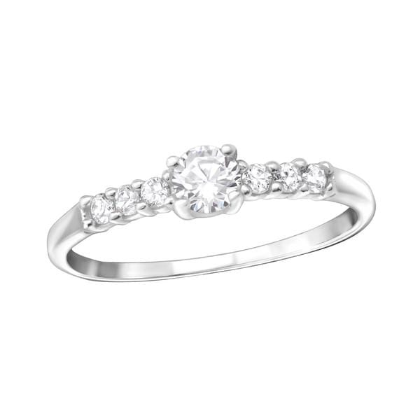 Sterling Silver Solitaire Engagement  Ring