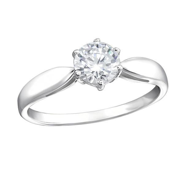 Silver Round  Engagement Ring with Cubic Zirconia
