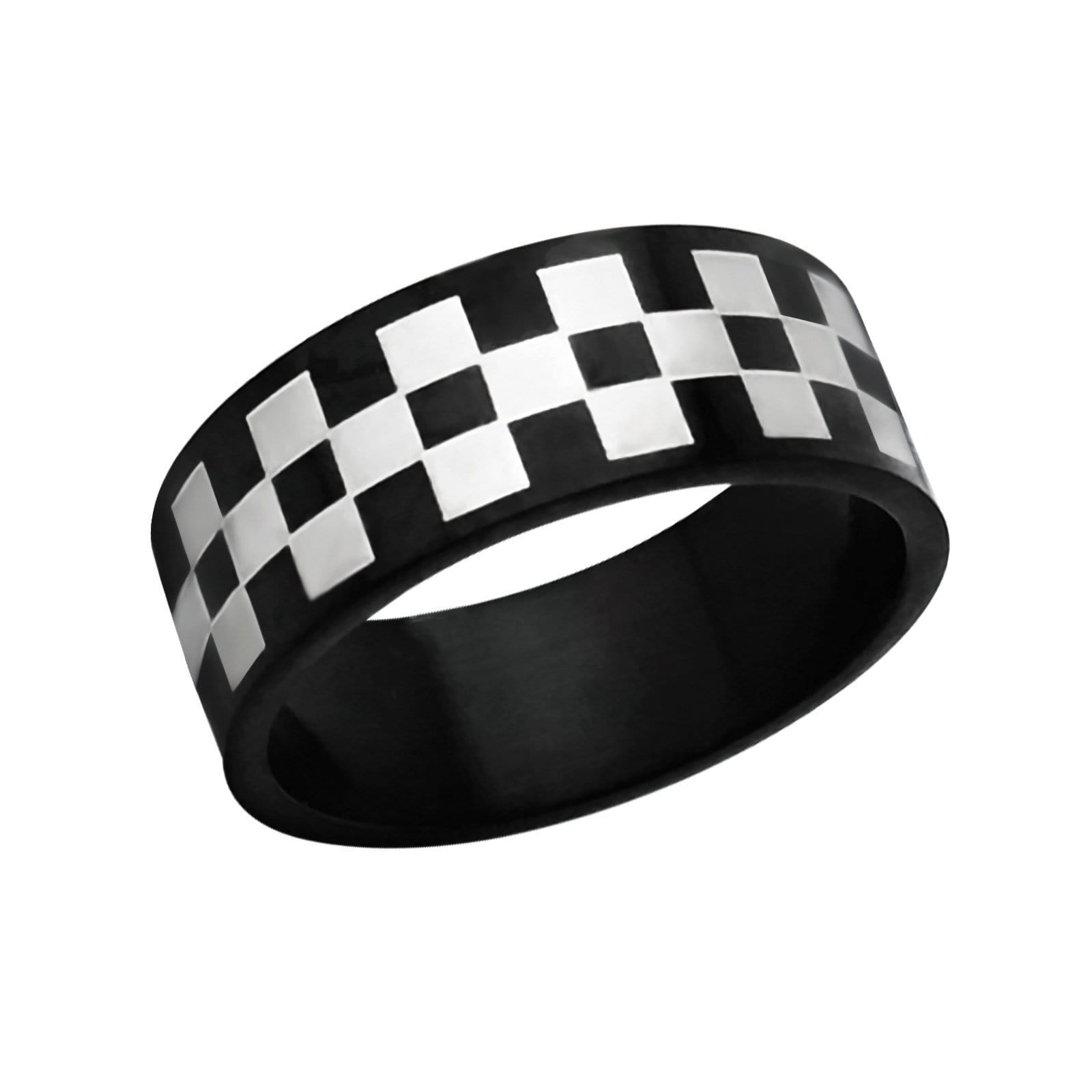Stainless Steel Chess Board Ring