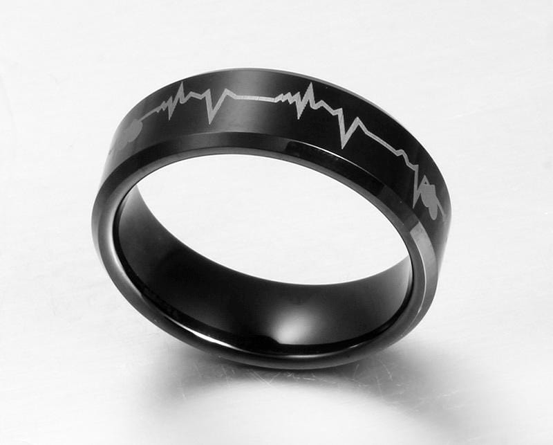 Black Mens Electrocardiogram Tungsten Ring