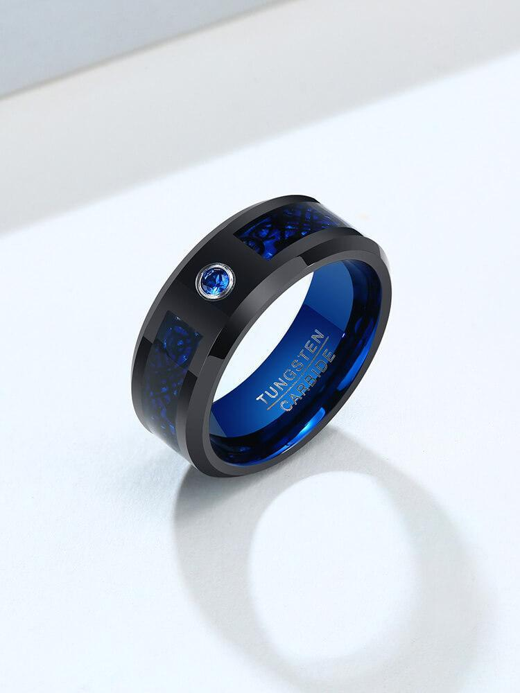 Men's Blue CZ Tungsten Wedding Ring