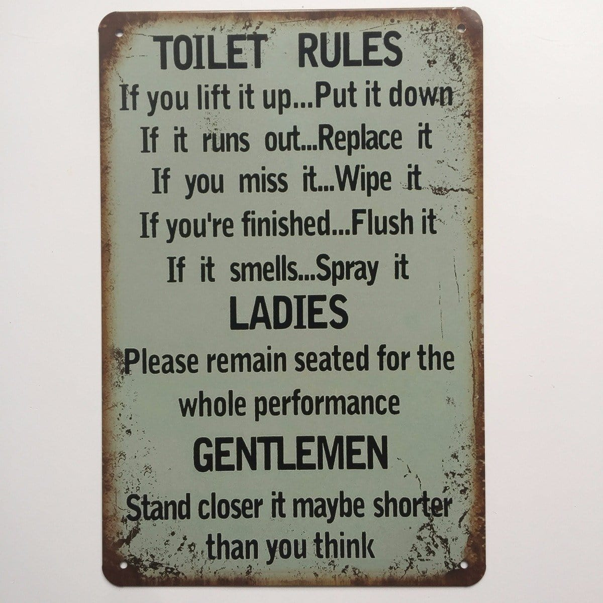 Funny Bathroom - Toilet Rules Signs For Home