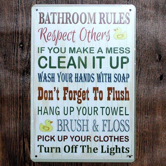 Bathroom -Toilet Rules Tin Sign Metal Poster