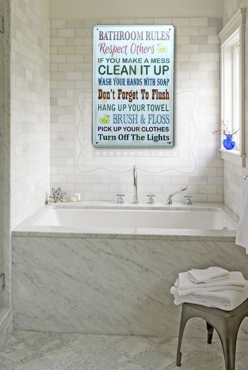 Bathroom Toilet Rules Tin Sign Metal Poster