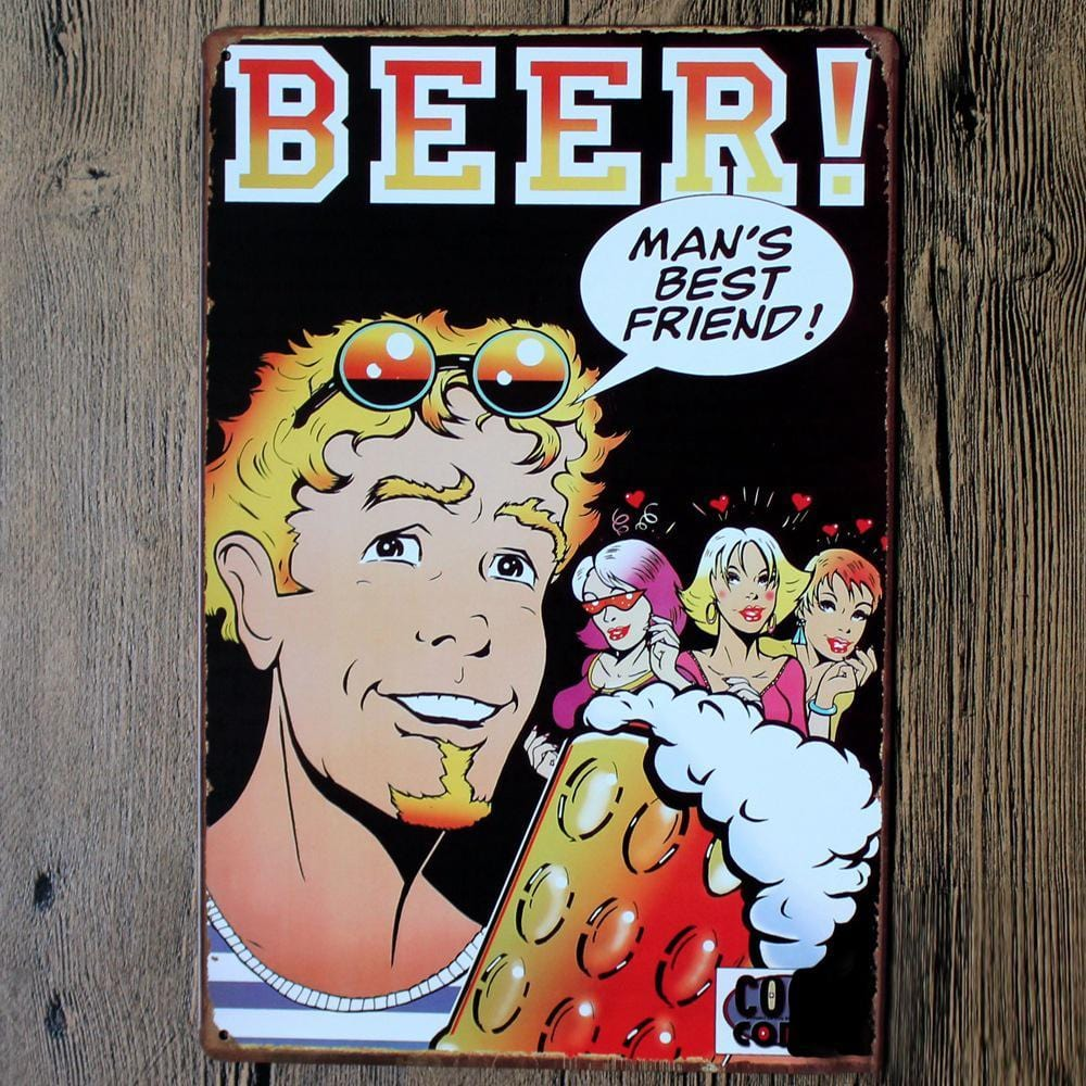 Man's Best Friend Beer Tin Sign Poster