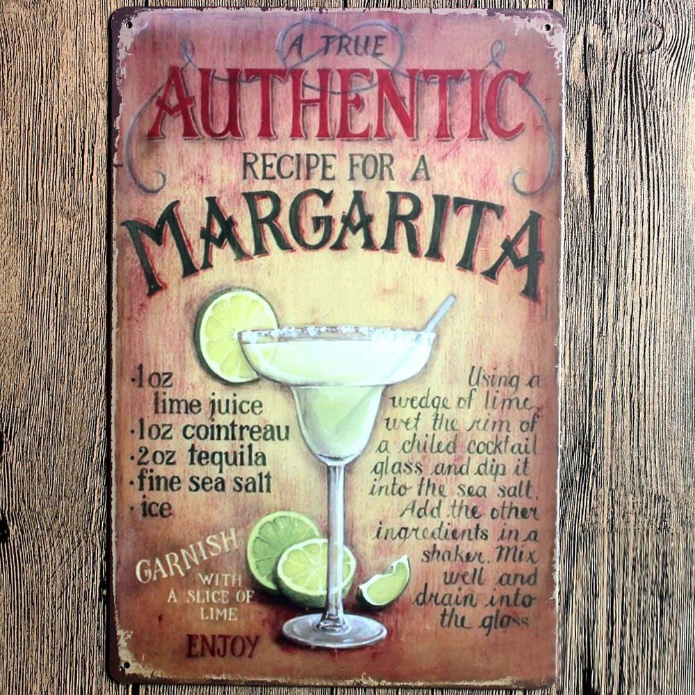Margarita Recipe Metal Tin Sign Poster